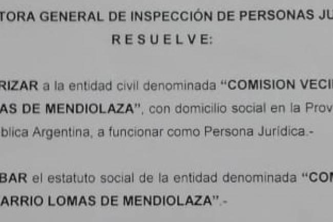 Lomas de Mendiolaza: Primer Comisión en ser reconocida con Personería Jurídica