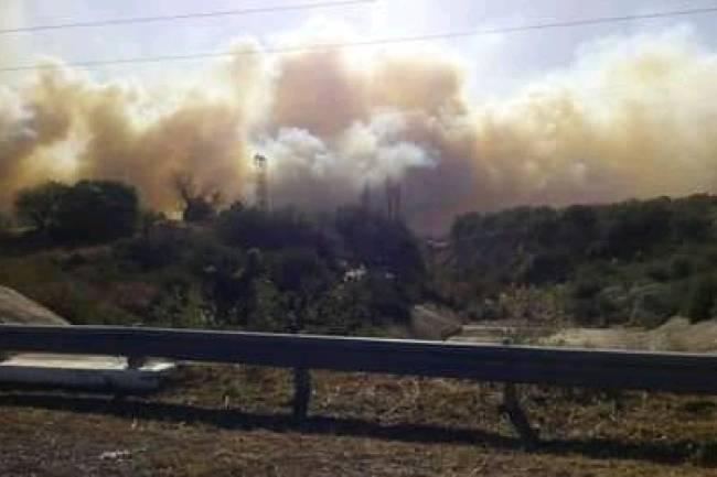 Incendio en un campo de Almafuerte